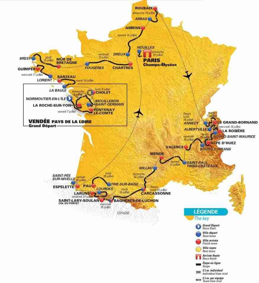105th Tour De France 2018 Route Map